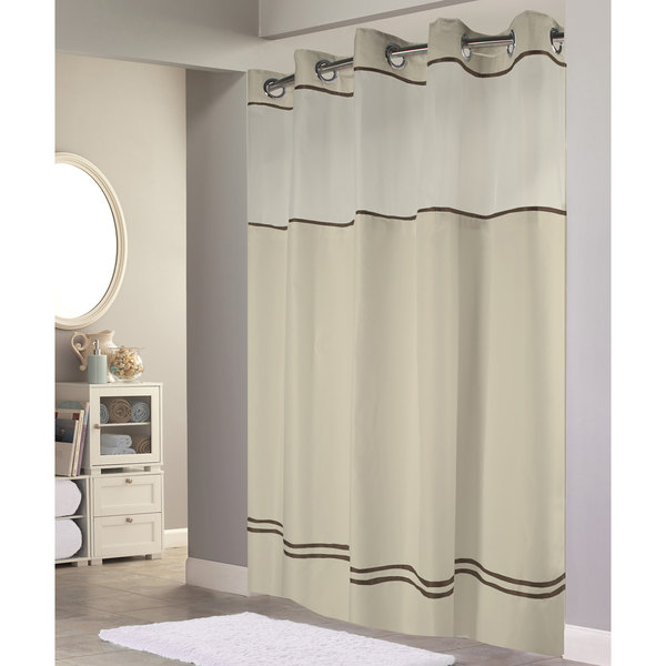 hookless hbh40es221 sand with brown stripe escape shower curtain with chrome raised flex on rings it s a snap polyester liner with magnets and