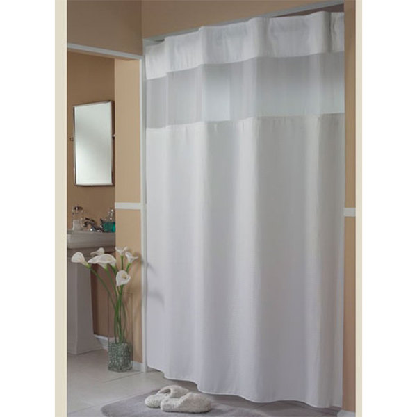 hookless hbh52h101x white mini waffle shower curtain with ring concealing header it s a snap polyester liner with magnets and poly voile