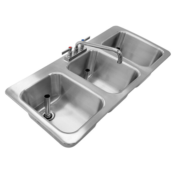 advance tabco dbs 3 three compartment stainless steel drop in bar sink 36 x 20