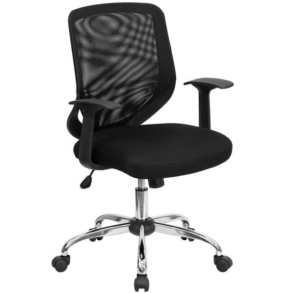 mesh back chairs for office hanging chair your room flash furniture lf w95 bk gg mid black main picture