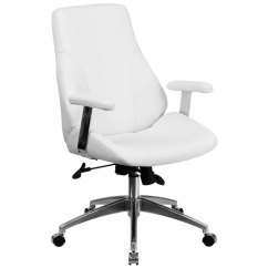 White Leather Swivel Desk Chair Mickey Mouse Recliner Flash Furniture Bt 90068m Wh Gg Mid Back Executive Main Picture