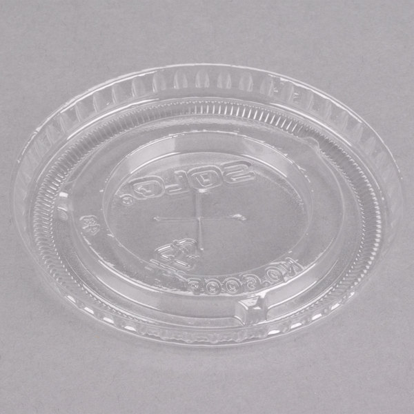 Dart Solo 600TS 9-10 oz. Clear PET Plastic Lid with Straw