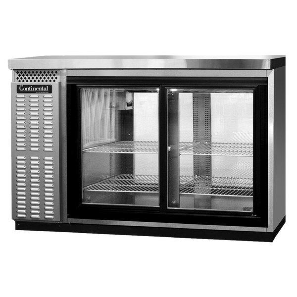continental refrigerator bb50snsssgdpt 50 stainless steel shallow depth pass through sliding glass door back bar refrigerator