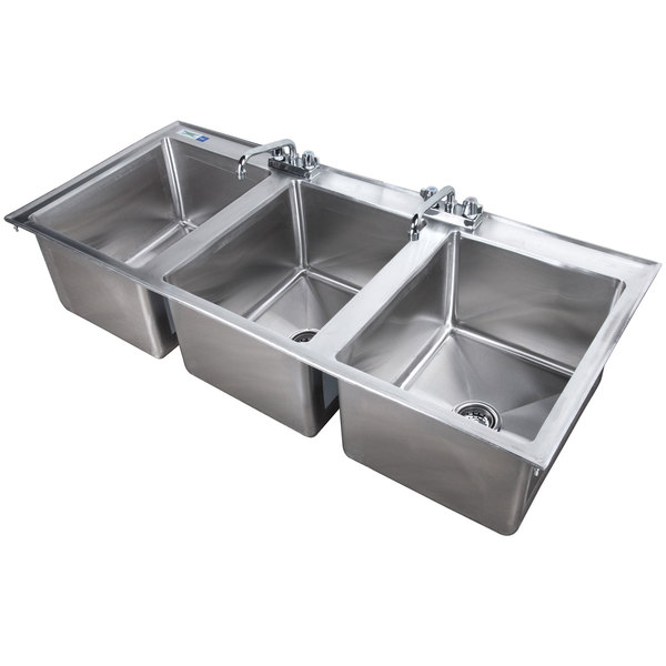 regency 16 x 20 x 12 16 gauge stainless steel three compartment drop in sink with 2 8 faucets