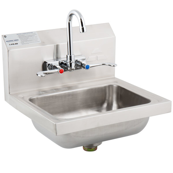 advance tabco 7 ps 68 hand sink with splash mount faucet and wrist handles 17 1 4 x 15 1 4