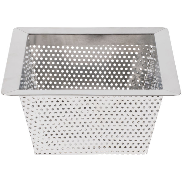 10 x 10 x 5 flanged stainless steel floor drain strainer with 3 16 perforations
