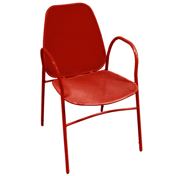 american tables seating 96 r red mesh outdoor powder coated metal chair