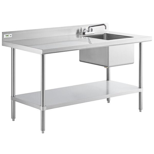 regency 30 x 60 16 gauge stainless steel work table with sink