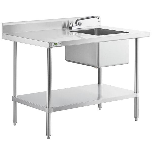regency 30 x 48 16 gauge stainless steel work table with sink