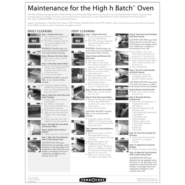 TurboChef HHB-8711 Daily High h Batch Oven Cleaning Poster