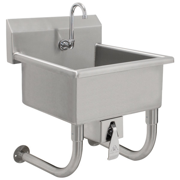 advance tabco fs wm 2721kv 14 gauge hand sink with 8 deep bowl and knee operated faucet 27 x 21 1 2