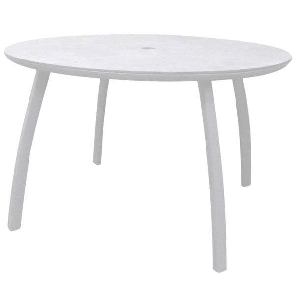 grosfillex ut42c096 sunset 42 glacier white round table with umbrella hole