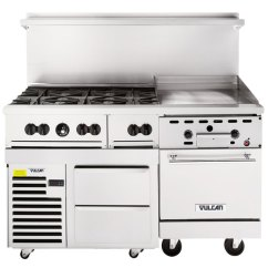 Vulcan Kitchen Cabinets Without Doors 60rs 24g6bn Endurance Natural Gas 6 Burner 60 Range With 24 Manual Griddle 1 Refrigerated