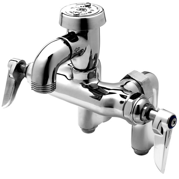 t s b 0669 pol service sink faucet with integral stops atmospheric vacuum breaker and lever handles