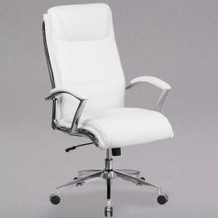 White Leather Swivel Desk Chair Folding Foam Bed Flash Furniture Go 2192 Wh Gg High Back Executive Main Picture