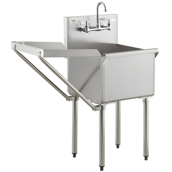 regency 18 16 gauge stainless steel one compartment commercial utility sink with faucet and 18 drainboard 18 x 18 x 14 bowl