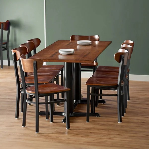 lancaster table seating 30 x 72 antique walnut solid wood live edge dining height table with 8 boomerang chairs