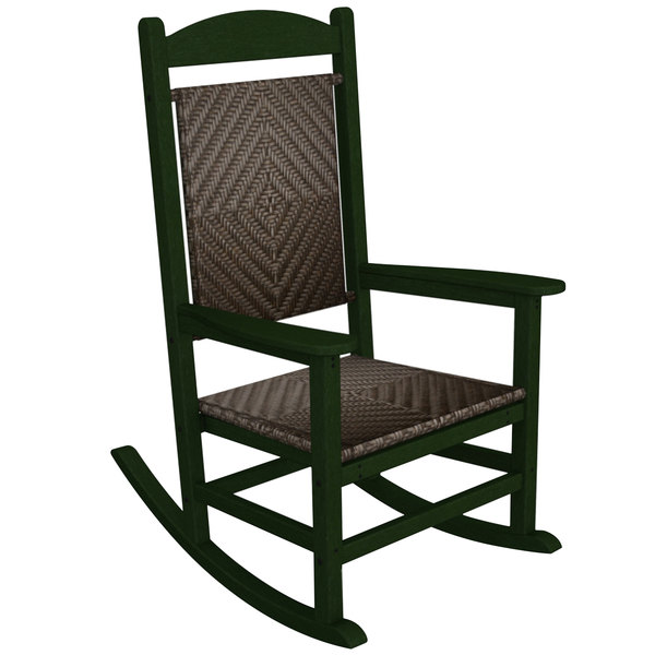 woven rocking chair square table and chairs polywood r200fgrca cahaba presidential with green frame