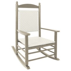 Woven Rocking Chair Plastic Dining Covers Polywood K147fsawl White Loom Jefferson With Sand Frame