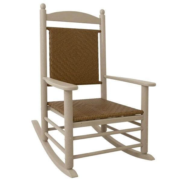 woven rocking chair x back chairs white polywood k147fsatw tigerwood jefferson with sand frame