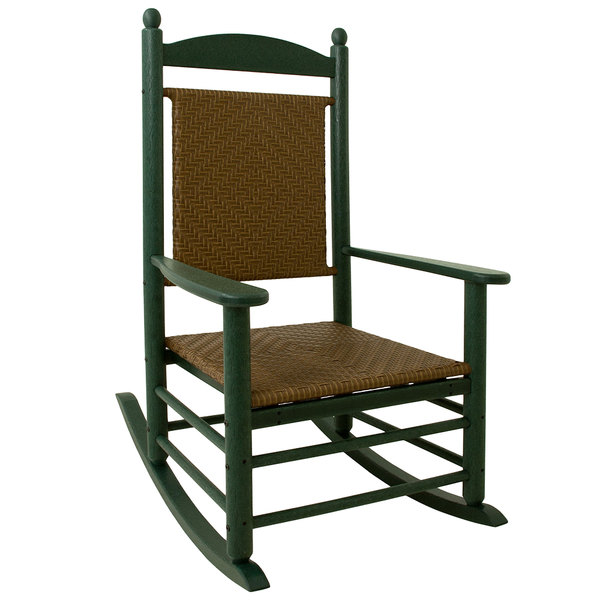 woven rocking chair bedroom cozy polywood k147fgrtw tigerwood jefferson with green frame