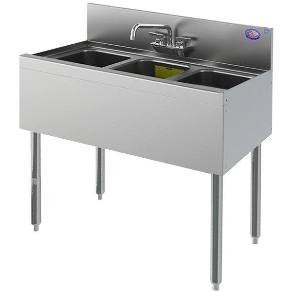 perlick ts33c 3 bowl stainless steel underbar sink with 6 backsplash 36 x 18 9 16