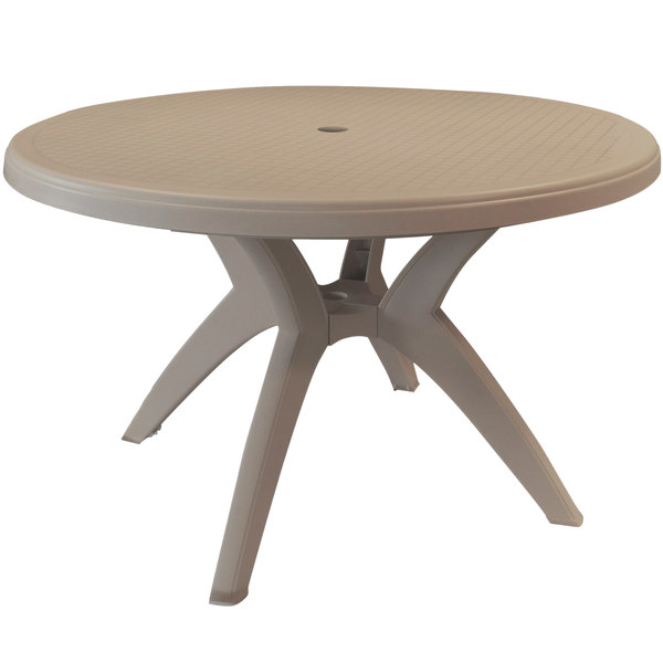 grosfillex us526181 ibiza 46 french taupe round resin pedestal table with umbrella hole