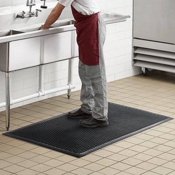 choice 3 x 5 black rubber ridge scraper top anti slip safety mat 1 4 thick