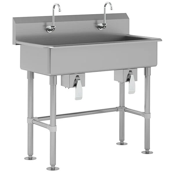 advance tabco fc fm 40kv 16 gauge multi station hand sink with 8 deep bowl and 2 knee valve faucets 40 x 19 1 2
