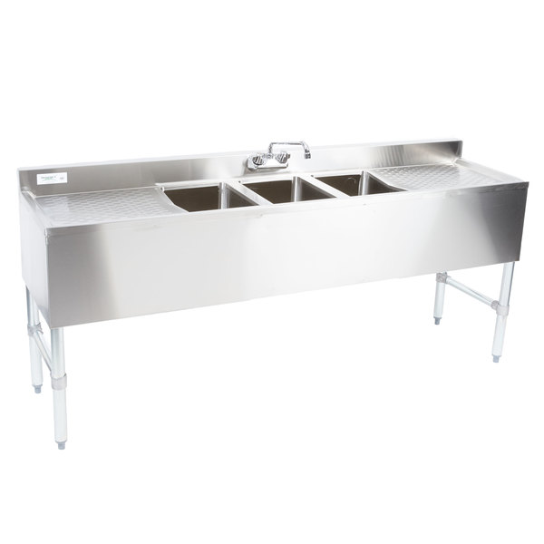 regency 3 bowl underbar sink with faucet and two large drainboards 72 x 18 3 4