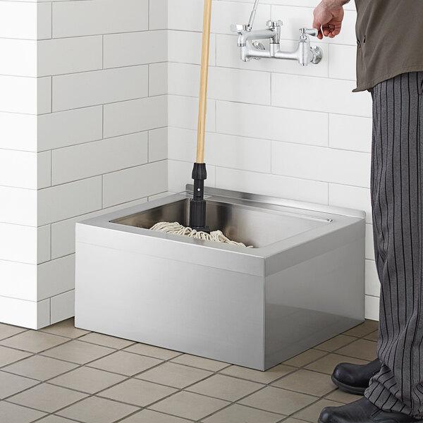 regency 25 16 gauge stainless steel one compartment floor mop sink 20 x 16 x 6 bowl