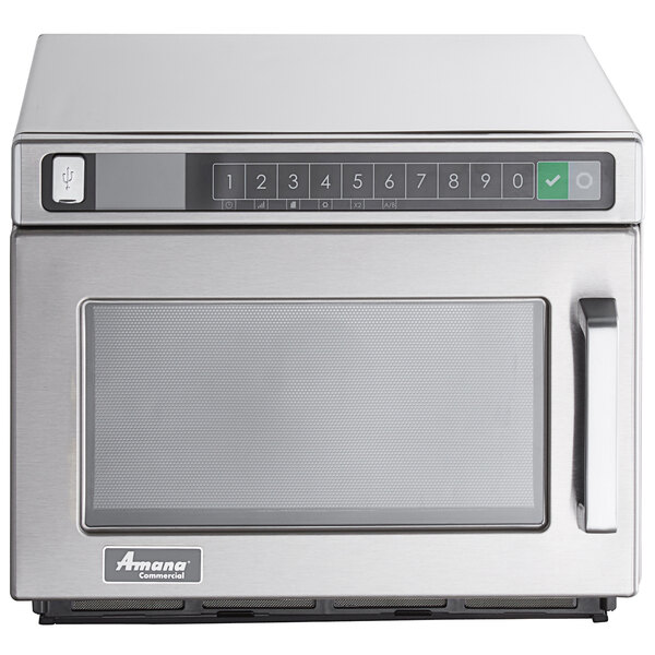 amana hdc212 heavy duty stainless steel commercial microwave 208 240v 2100w