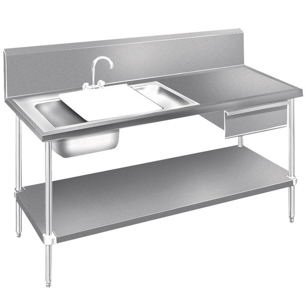 advance tabco dl 30 72 stainless steel prep table with sinks drawer cutting board and undershelf 72