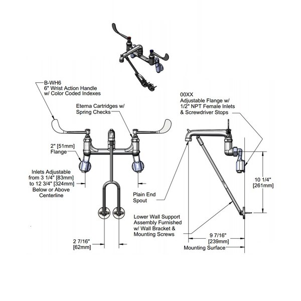 t s b 0650 01 wall mount mop sink faucet with 8 adjustable arm centers 6 wrist action handles lower wall support and eterna cartridges