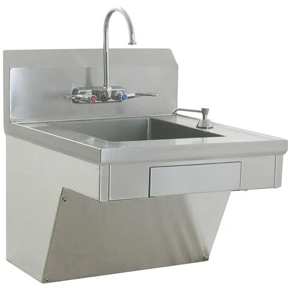eagle group hsap 14 ada fw ada compliant hand sink with gooseneck faucet wrist action handles c fold towel dispenser soap dispenser skirt and