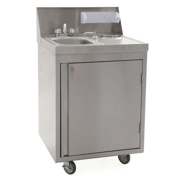 eagle group phs s h hot and cold water portable sink with stainless steel bowl