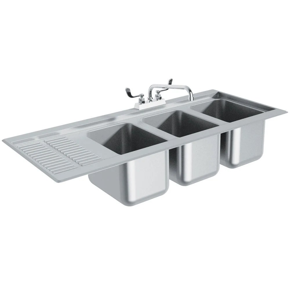 Advance Tabco DBS43R Three Compartment Stainless Steel