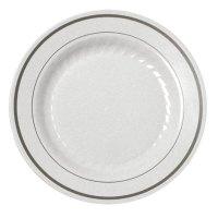 """Fineline Silver Splendor 506-WH White 6"""" Plastic Plate ..."""