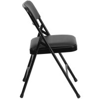 "Black Metal Folding Chair with 1"" Padded Vinyl Seat"