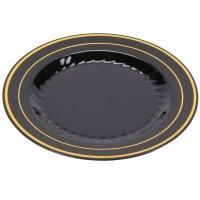 """Fineline Silver Splendor 506-BKG 6"""" Black Plastic Plate ..."""
