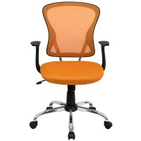 Mid-Back Orange Mesh Office Chair with Arms, Padded Seat ...