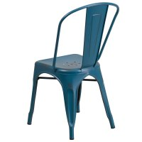 Distressed Kelly Blue Stackable Metal Chair with Vertical ...