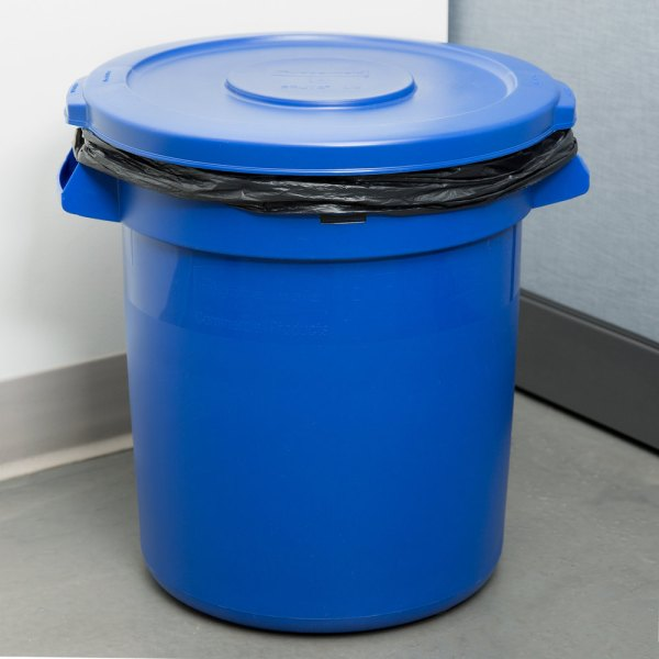 Rubbermaid Brute 10 Gallon Blue Trash And Lid