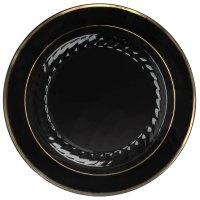 """Fineline Silver Splendor 510-BKG 10"""" Black Plastic Plate ..."""