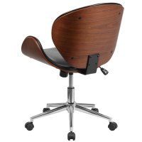 Mid-Back Black Leather Walnut Wood Conference Swivel Chair