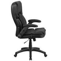 High-Back Black Leather Executive Swivel Office Chair with ...