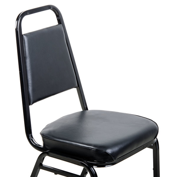 folding chair vinyl padded black toilet lancaster table & seating stackable with 2