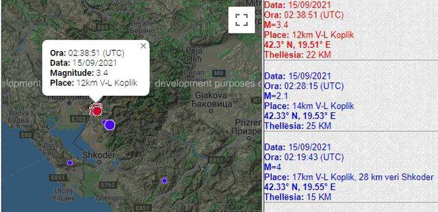 Shqiperia zgjohet me termet, lekundje 3.4 balle ne Koplik