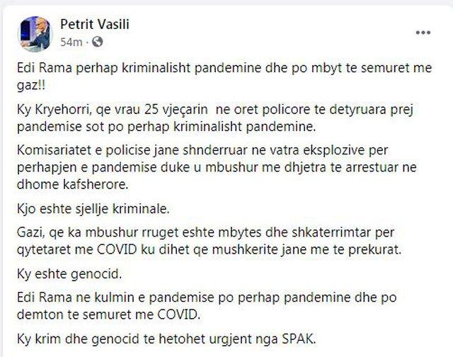 Vasili: Ky është gjenocid, Rama po mbyt të sëmurët me