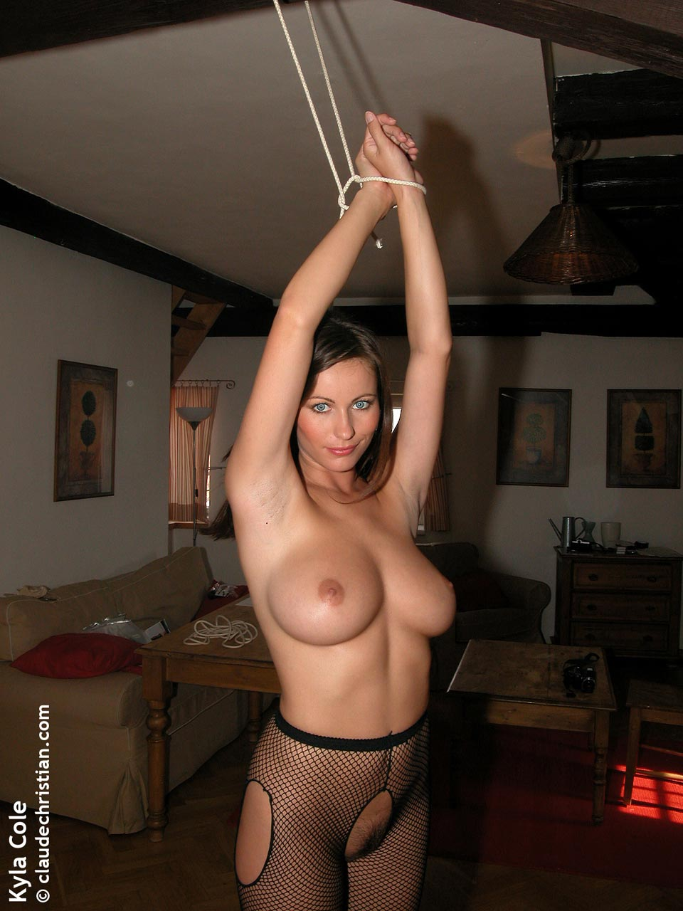 Kyla Cole tied up showing her busty perky tits more in
